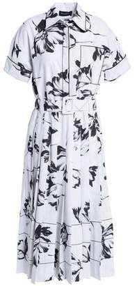 Piazza Sempione Belted Printed Cotton-blend Poplin Shirt Dress