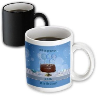 3dRose 49th Birthday Party with Chocolate Cake and Blue Balloons, Magic Transforming Mug, 11oz