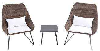 Hanover 3-Piece Wicker Scoop Chat Set With Cushions