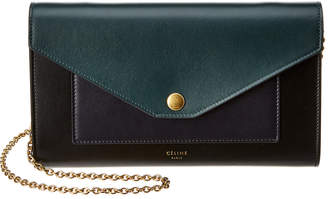 Celine Large Pocket Flap Smooth Calfskin Leather Wallet On A Chain