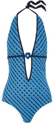 La Perla Floral-Appliquéd Paneled Striped Halterneck Swimsuit
