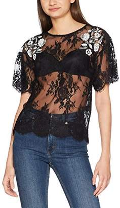 New Look Women's Mono Floral Embroidered Lace 5461826 T - Shirt