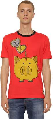 Dolce & Gabbana Piggy Bank Printed Cotton Jersey T-Shirt