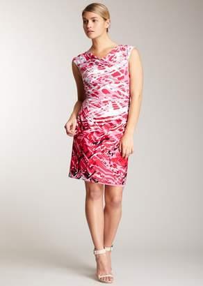 Modern American Designer Ruched Print Dress