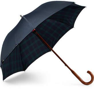 London Undercover Black Watch-Lined Wood-Handle Umbrella - Men - Navy