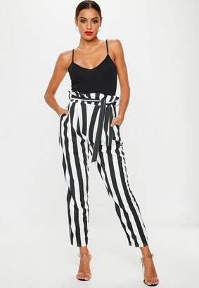 Missguided Black Paperbag Striped Trousers
