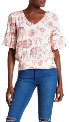 June & Hudson Ruffle Sleeve Printed Blouse