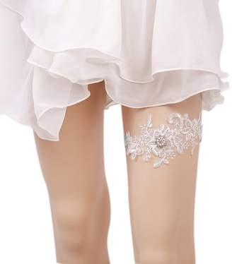 89a25ce45d2 Belyee Bridal Wedding Accessory Blue Garter with Lace Rhinestones Leg Garter  Set