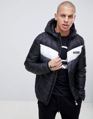 Ellesse Ginap Chevron Puffer Jacket In Black