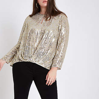 River Island Plus gold sequin tuck front long sleeve top