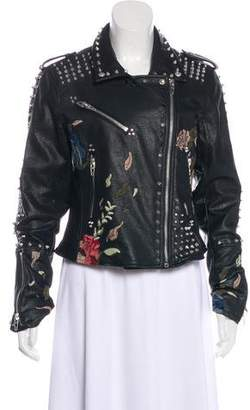 Blank NYC Embroidered Faux-Leather Jacket