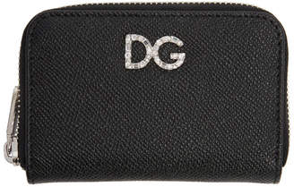 Dolce & Gabbana Black Crystal Logo Zip Card Holder