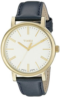 Timex Women's TW2P63400AB Originals Gold-Tone Watch with Blue Leather Band $75 thestylecure.com