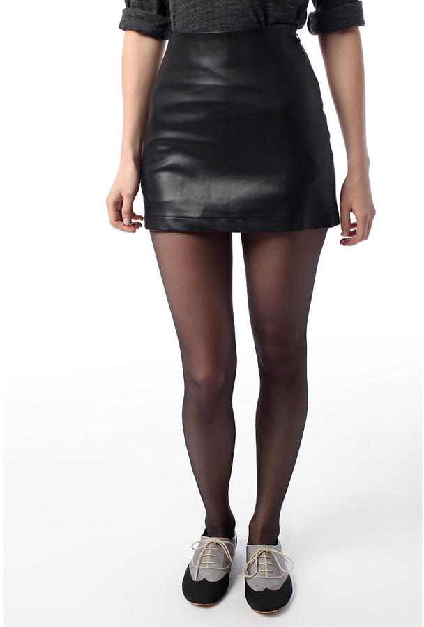 byCORPUS Faux Leather Back-Zip Skirt