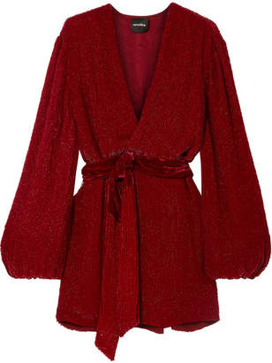 Retrofête - Gabrielle Velvet-trimmed Sequined Chiffon Mini Wrap Dress - Burgundy