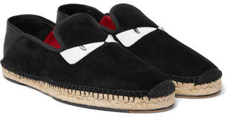 Fendi Collapsible-Heel Leather-Trimmed Suede Espadrilles