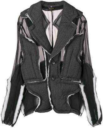Comme des Garcons sheer pannelled raw edge jacket
