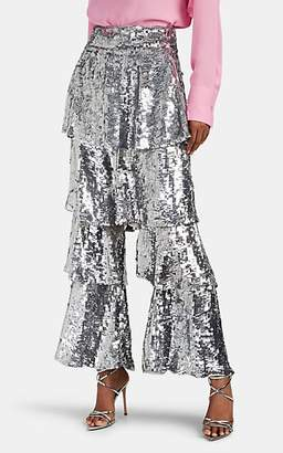 Osman Women's Felix Sequined Tiered-Flounce Pants - Silver