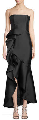 Fame & Partners The Seller Twill Strapless Bustier Gown w/ Side Ruffle