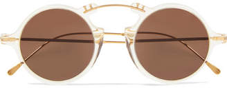 Illesteva Roma Ii Round-frame Acetate And Gold-tone Sunglasses - Ivory