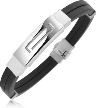 Forzieri Men's Rubber and Stainless Steel Bracelet