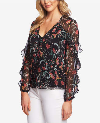 CeCe Marrakesh Ink Floral-Print Ruffled Blouse