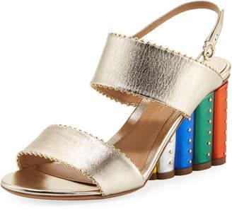 Metallic City Sandal with Rainbow Heel
