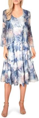 Komarov Floral Print A-Line Dress with Jacket