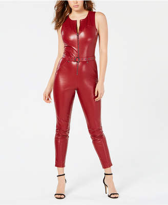 68f8a506131e GUESS Sandra Belted Faux-Leather Jumpsuit