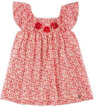 Carrera Pili Speckled-Print Eyelet Dress, Red, Size 4-10