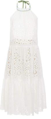 Luisa Beccaria Eyelet Halter Short Dress