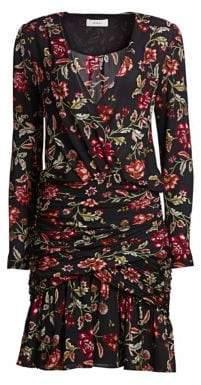 A.L.C. Women's Haven Silk Floral Dress - Black Terracotta - Size 0
