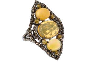 Bavna Diamond & Opal Elongated Ring