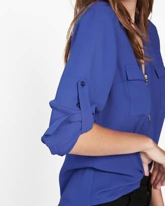 Express Petite Long Sleeve Zip Front Blouse