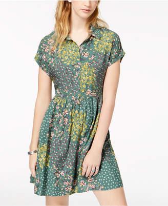 Be Bop Juniors' Printed Rolled-Sleeve Shirtdress