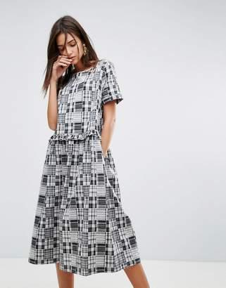 YMC Patchwork Ruffle Midi Dress