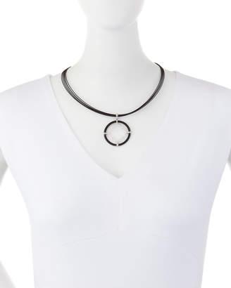 Alor Noir Cable & Diamond Kite Pendant Necklace