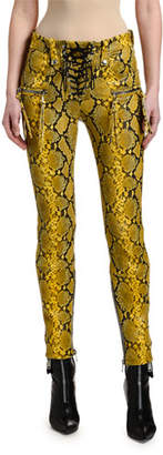 Unravel Snake-Print Leather Lace-Up Pants