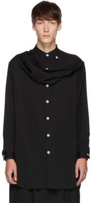 Yohji Yamamoto Black Wrinkled Gabardine Scarf Shirt