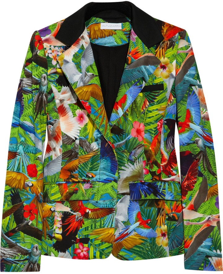 Altuzarra Finch tropical-print cotton-blend blazer