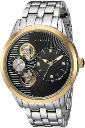 Sean John Men's 'Faux Automatic' Quartz Metal and Alloy Dress Watch, Color:Silver-Toned (Model: SJC0178002)
