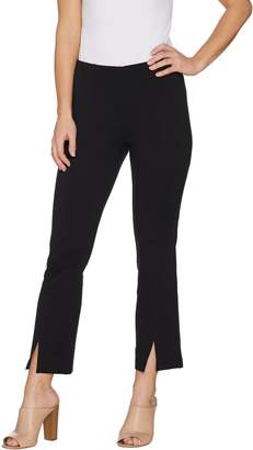 Du Jour Pull-On Ponte Knit Ankle Pants with Front Slit