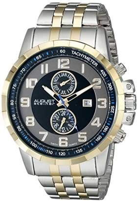 August Steiner Men's AS8153TTG Yellow Gold And Silver Multifunction Swiss Quartz Watch with Gray and Black Dial and Two Tone Bracelet