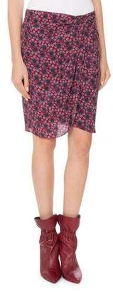 Isabel Marant Floral-Print Draped Silk Skirt