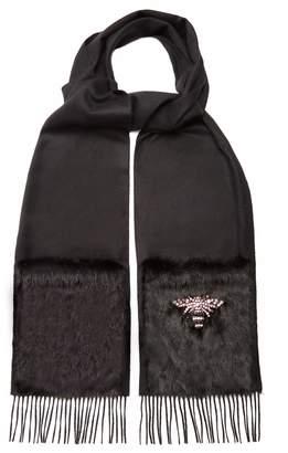 Gucci Bee-embellished silk-blend scarf