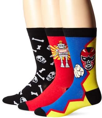 K. Bell Socks Men's 3 Pack Robot Crew Socks