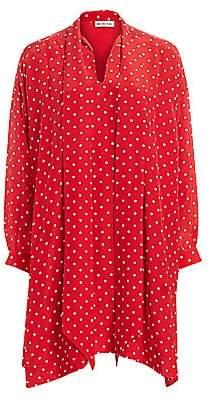 Balenciaga Women's Vareuse Polka Dot Silk Shift Dress