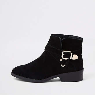 River Island Black wide fit suede buckle ankle boots