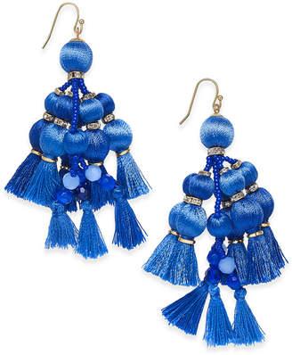 kate spade new york 14k Gold-Plated Blue Tassel Chandelier Earrings $98 thestylecure.com