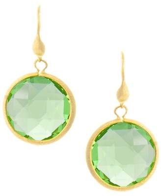 Rivka Friedman 18K Gold Clad Faceted Apple Green Crystal Satin Round Single Dangle Earrings